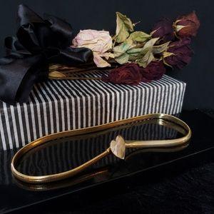 """Vintage Gold Belt Heart 80s Stretchy 27 28"""""""